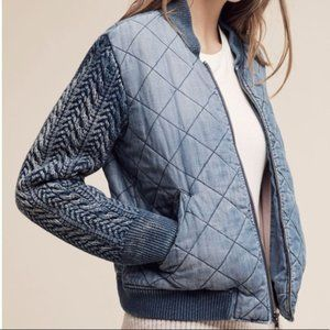 Cloth & Stone Quilted Chambray Bomber Jacket